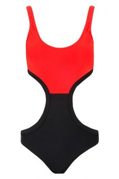 HS CONTRAST CUTOUT SS Contrast, Bodysuit, Swimwear, Red, Clothes, Tops, Women, Fashion, Onesie