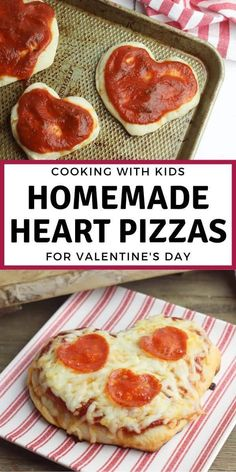 Easy recipe for cooking with kids to make heart shaped pizza from scratch with homemade pizza dough ideal for Valentine's Day Dinner for them and you to share.