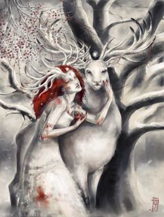 """Brothers"" by Mar del Valle, the original version of the Christmas card for ""El Mar de Tinta"" { creaturae creature yule horned girl antlered lady woman antler goddess maiden horns deer stag spirit beltane pagan paganism craft wicca art Cernunnos snow winter berry branches tree pomegranate fae faerie stars magic }"