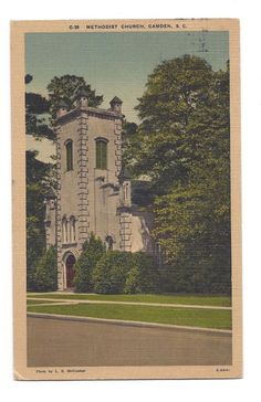 Vintage Linen Postcard Methodist Church Camden South Carolina SC