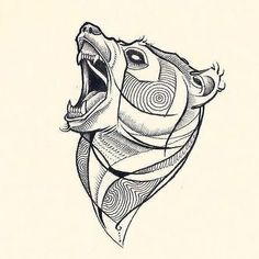 Creative abstract bear's head.
