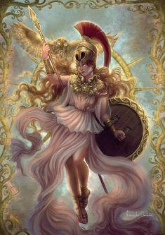Athena- Goddess of Wisdom & Warfare, First Daughter of Zeus Greek Mythology Tattoos, Greek Mythology Art, Roman Mythology, Athena Greek Goddess, Athena Tattoo, Greek Pantheon, Roman Gods, Greek Gods And Goddesses, Greek Art
