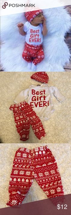 Infant Christmas Outfit Never worn. Washed once. Unfortunately it won't fit my baby. Size is 0-3 but it's definitely more for 3-4 months. Matching Sets