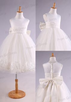 Tulle straps with sash bow flower girl dress by promgirldress, $37.00