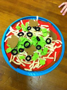 pizza made from felt and yarn