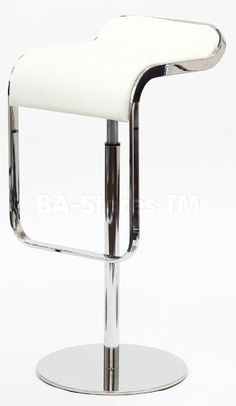 LEM Piston Style Bar Stool in White Leather - Premium Version
