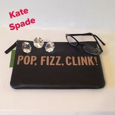 "💕NWT💕 Kate Spade ""Crystal Court"" Gia A must need. Black leather with Gold color lettering. Great size, can easily store iPad Mini plus room for more. Bright red Kate Spade New York signature fabric. kate spade Bags"