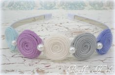 Items similar to Winter Pastel Felt Flower Headband for Girls, Toddlers, Teens, Adults in Blue for Photo Props, Weddings, Hair Accessory-Wool Felt & Pearls on Etsy
