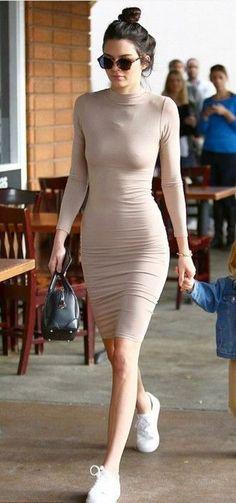 Get it at WWW.NICKYPOSH.COM dress bodycon dress kendall jenner sneakers turtleneck dress fall dress fall outfits