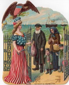Jewish families accounted for a significant number of immigrants from Austro-Hungarian lands, as illustrated by this 1909 vignette.  (Sammlung Samsinger)