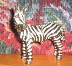 red eye glass crystal ruby  Zebra Trinket Box hinged