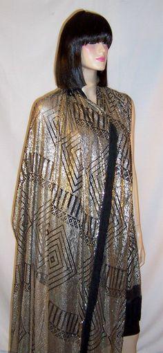 1920's Silver on Black Net, Substantial Assuit Shawl with Fringe 1stdibs.com $2,750