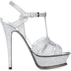 Saint Laurent 'Classic Tribute 105' sandals featuring polyvore women's fashion shoes sandals grey ankle wrap sandals braided sandals metallic sandals gray sandals leather ankle strap sandals