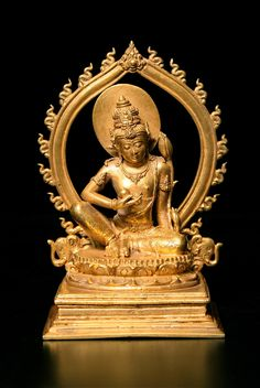 "Gold Bodhisattva - DA.701  Origin: Indonesia  Circa: 900 AD to 1300 AD  Dimensions: 4.75"" (12.1cm) high  Collection: Asian Art  Style: Balinese  Medium: Gold  Condition: Fine"