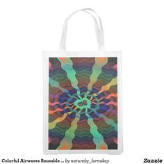 Colorful Airwaves Reusable Grocery Bag http://www.zazzle.com/colorful_airwaves_reusable_grocery_bag-256051093232936981?CMPN=shareicon&lang=en&social=true&view=113657951747413755&rf=238588924226571373