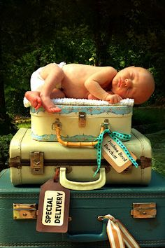 "Vintage luggage Newborn portrait ""Special Delivery"" photo Birth Announcements!"