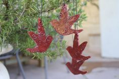 Bird Ornament set of 4 handmade ceramic bird decoration pottery wall decor home accents indoors outdoors decoration unique gift idea by ManuelaMarinoCeramic on Etsy