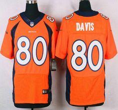 Denver Broncos Jersey 80 Vernon Davis Orange Team Color NFL Nike Elite Jerseys