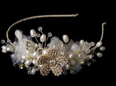 vintage tiara band lace tulle and rhinestone