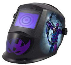 Photoshopped welding helmet of Hawkeye from Tulsa Welding School.
