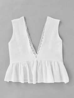 Shop Plunging V-neckline Lace Trim Frill Hem Top online. SheIn offers Plunging V-neckline Lace Trim Frill Hem Top & more to fit your fashionable needs. Girl Fashion, Fashion Outfits, Womens Fashion, Pretty Outfits, Cute Outfits, Summer Outfits, Casual Outfits, Lace Ruffle, Ruffle Top
