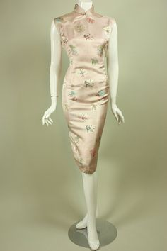 Vintage 1950's SILK CHEONGSAM DRESS Pale by regenerationclothing, $115.00