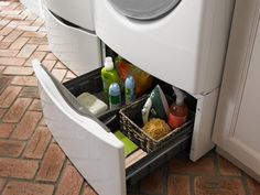 An easy way to increase storage space when it's time to upgrade your washer and dryer: pedestal drawers. Most manufacturers offer versions that perfectly fit their models. Plus, the added height makes loading and unloading a little easier.