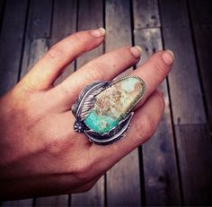 Royston Turquoise Feather Ring Size 7 by StrongMedicineStudio
