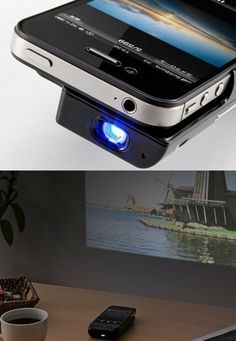 iphone projector. Watch movies and photo slides with your iphone on the wall @jessicapool we needed this