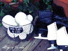 snow balls in vignette on porch