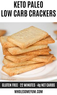 Keto Paleo Low Carb Crackers Recipe with Almond Flour – 3 Ingredients – These crunchy, buttery paleo crackers have just 3 simple ingredients. If you're looking for an easy keto low carb crackers recipe, this is the one! Source by wholesomeyum Paleo Recipes, Low Carb Recipes, Snack Recipes, Bread Recipes, Dessert Recipes, Tuna Recipes, Sausage Recipes, Gluten Free Desserts, Baking Recipes
