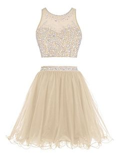 Tideclothes Short Beading Prom Dress Two Pieces Tulle Hom...