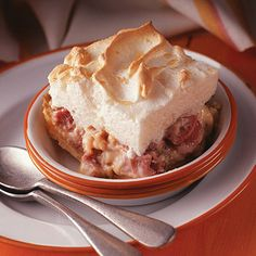 Aunt Emma's Rhubarb Custard Dessert    This nostalgic rhubarb dessert has a buttery cookie crust covered with a delicious rhubarb custard and topped with meringue.