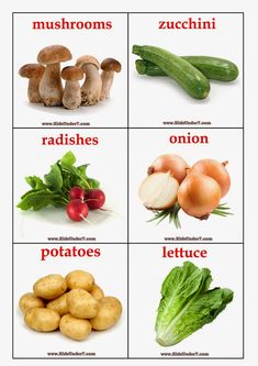 There are 30 flashcards including Vegetables: mushrooms, zucchini, radishes, onion, po. Food Flashcards, Flashcards For Kids, Healthy Prepared Meals, Healthy Recipes, Healthy Foods, Fruits For Kids, Shapes For Kids, Kids English, Types Of Vegetables