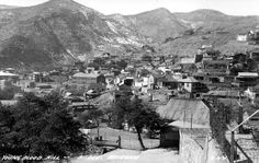 A postcard view of Youngblood Hill and Opera Drive in Bisbee, Arizona.  This image is from the photograph collection of the Bisbee Mining & Historical Museum.  Discover more Bisbee, Arizona images and artifacts at www.facebook.com/BisbeeMuseum #bisbee #arizona #bisbeemuseum #history