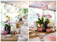 Reception table details, featuring orchid centerpieces and growler table numbers | Tyler Arboretum Wedding by Ashley Gerrity Photography