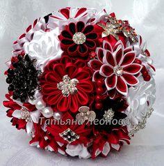 Fabric Wedding Bouquet Brooch bouquet Garnet  Red White by LIKKO, $75.00