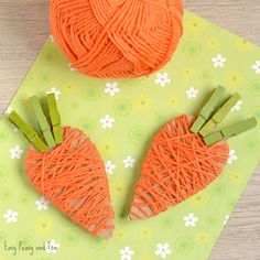 Yarn Wrapped Carrot Craft for Kids Why not make a cute little garland with a bunch of these adorable carrots! We are showing you how to make a yarn wrapped carrot craft for kids and kids at heart. This one can be a great decoration, just imagine this as a Yarn Crafts For Kids, Bee Crafts, Bunny Crafts, Heart Crafts, Easter Crafts For Kids, Flower Crafts, Arts And Crafts, Craft Kids, Easter Activities