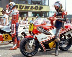Steve Parrish (2)& team mate Barry Sheene (7, YRT-Yamaha YZR500) 1982 West German 500cc GP, Hockenheimring