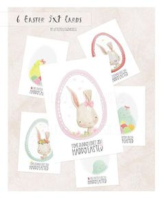 Easter Cards Set Of 6-Watercolor Easter Prints-Bunny Cards-Happy Easter-Easter Chicken-Printable Spring Card-Easter Egg-Instant Download Etsy Shop Names, Yellow Daisies, Easter Printables, Printable Cards, Folded Cards, Happy Easter, Easter Eggs, Connect, Etsy Seller
