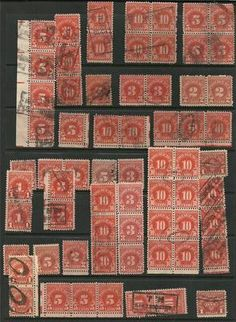 US collection of 66 Good Assorted Postage Due stamps, pairs, strips, block of 8