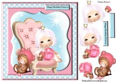 Little Princess by Nadege Burness A cute design for the little birthday princess. Included decoupage and sentiment . Princess Birthday, Girl Birthday, Quick Cards, Cute Designs, Little Princess, Decoupage, Card Making, Printables, Girls