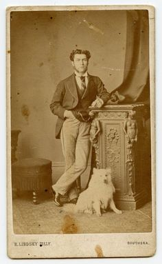 Man and White Dog, Vintage CDV Photo  by H. Lindsey Tilly, Southsea, England