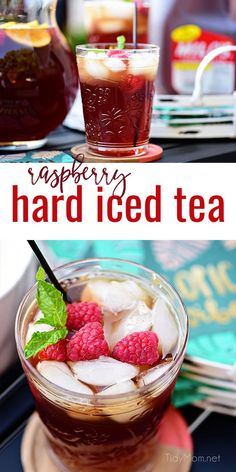 Raspberry Hard Iced Tea Cocktail Planning some warm-weather entertaining? This Raspberry Hard Iced Tea Cocktail with will become a perpetual party favorite. Mix in iced tea classics like raspberries, lemon, and mint along with a spike whiskey a Iced Tea Cocktails, Fun Cocktails, Party Drinks, Fun Drinks, Cocktail Recipes, Drinks Alcohol Recipes, Non Alcoholic Drinks, Tea Recipes, Drink Recipes