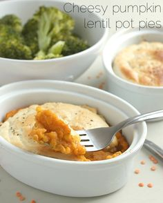 Cheesy pumpkin lentil pot pies {for a healthier alternative, use phylo dough instead of puff pastry}