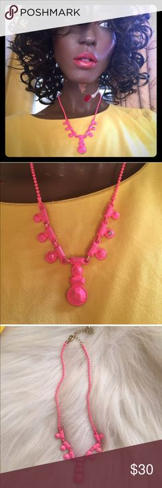 💢Urban Outfitters Pink Metal Mod Necklace💢 You are purchasing a used, but super chic necklace from urban outfitters. The metal necklace is sturdy but light. The bright pink is polished on for that cool/grungy look... Original to purchase. There are some areas where the paint is compromised bc of the metal touching (and naturally wear) but it's honestly still a stunning necklace and a must have for the season (see photos). Wear with a little black dress or floral shirt! Super cool! I…