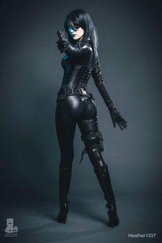 Cable - X.Men Marvel Comics. Character: Domino. Cosplayer: Heather Leet 'aka' Heather 1337. From: Boynton Beach, Florida, US. Photo: David Love 2014.