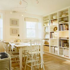 All white with a wall of shelves