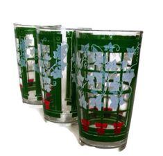 #Vintage #Tumblers Drinking Glasses Retro Glasses Ivy on Lattice Red and Green Set of 3 Housewarming Gift Vintage Kitchen https://etsy.me/2JG2mA3 #housewares #green #housewarming #red #glass #midcenturyglasses #retro #gotvintage #wiseteam #summer #ivy