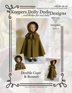 "PDF Pattern KDD18-16 ""Double Cape & Bonnet""- Doll Clothes to Fit 16"" A Girl For All Time Doll ~An Original Design By KeepersDollyDuds by KeepersDollyDuds on Etsy https://www.etsy.com/listing/251012683/pdf-pattern-kdd18-16-double-cape-bonnet"